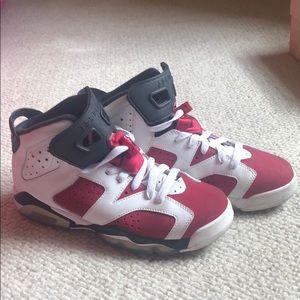 Jordan carmine 6's lightly worn kids 6.5